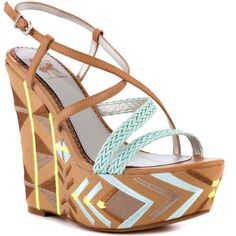 Circus by Sam Edelman Women's Capri - Fresh Mint Natural (£58) ❤ liked on Polyvore featuring shoes, sandals, wedges, heels, zapatos, platform, casual, open toe, women and strap sandals