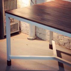 Custom made dinner table - wallnut top - white powder coated aluminium legs - follow SILAS workshop page on facebook !