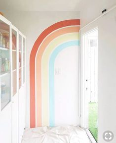 modern rainbow mural decor via Stefanie Bales . At Wee Gather in San Diego. // Rainbow mural kids room nursery decor wall art home custom painting interior design colorful painting room decor Interior Paint, Decor Interior Design, Room Interior, Modern Interior, Interior Office, Kids Room Murals, Kids Room Paint, Kids Rooms, Playroom Mural