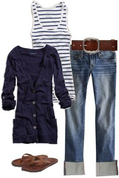 Casual comfy coastal jeans and stripe tee outfit love a long grandad cardigan too xx Look Fashion, Autumn Fashion, Fashion Outfits, Womens Fashion, Fashion Shoes, Fashion Trends, Fashion 2014, Trendy Fashion, Vintage Fashion