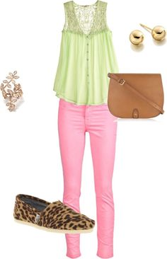 green and pink, created by cminnick on Polyvore