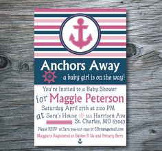 Nautical Baby Shower Invitation, Anchor Baby Shower Invite, Navy and Pink Printable Shower Invitation