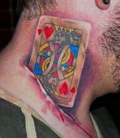 Poker tattoos or the poker body art and are put by the poker lovers.Here is a collection of poker tattoo design. Weird Tattoos, 3d Tattoos, Poker Tattoos, King Of Hearts Tattoo, Heart Tattoo Images, Card Tattoo, Sketch Tattoo, Tattoo Drawings, Tattoo People