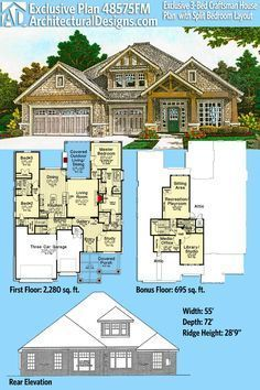 Architectural Designs Exclusive House Plan 48575FM gives you 3 beds and over 2,200 sq. ft. of heated living space plus a bonus level giving you 695 sq. ft. more. Ready when you are. Where do YOU want to build? #48575fm #adhouseplans #architecturaldesigns #houseplan #architecture #newhome #newconstruction #newhouse #homedesign #dreamhome #dreamhouse #homeplan #architecture #architect #craftsmanhome #craftsmanhouseplan #3bedhouseplan