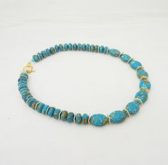 Howlite Necklace with Gold Disk, Blue and Gold Necklace, Gemstone Necklace £27.00