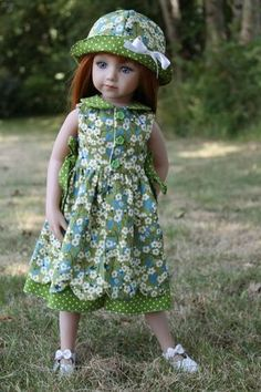 petal dress and hat pattern American Girl Outfits, Girl Doll Clothes, Girl Dolls, Red Fashion, Fashion Dolls, Little Girl Dresses, Flower Girl Dresses, Dolly Dress, Wellie Wishers