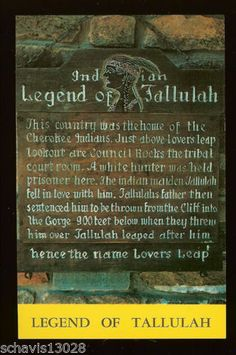 Indian Legend of Tallulah Marker in Georgia Cherokee Indian Historical Site