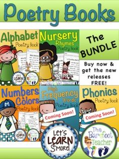 Poetry Books {The Bundle} - Nursery Rhymes, Alphabet, Numbers, Colors, & more!  All five of the poetry books together in one collection! PLUS, 2 more books to come, Phonics Poetry Book & High Frequency Words Poetry Book. 172 Ready-to Print pages! $