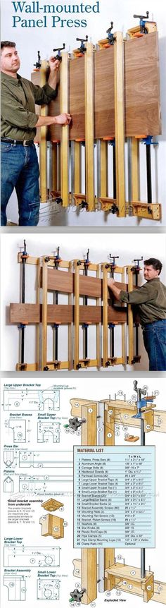 Wall Mounted Panel Glue Up Press - Panel Glue Up Tips, Jigs and Techniques | WoodArchivist.com