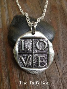 Wax Seal Silver  Pendant Necklace LOVE by TheTaffyBox on Etsy