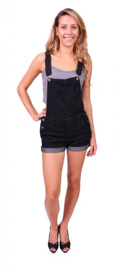 Cello Jeans Women Black Denim Overall Cuffed Shorts at Amazon Women's Clothing store: