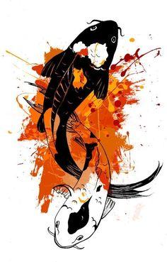 art of koi Koi Art, Fish Art, Body Art Tattoos, Sleeve Tattoos, Tatoos, Japon Illustration, Graphisches Design, Koi Fish Tattoo, Japanese Koi