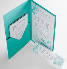 Aqua Wedding Invitations - a neat pocket with printed floral detailing.....obsessed with this color!