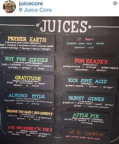 Cleverly named juicing combos...