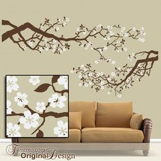 Large Vinyl Wall Decal Set Cherry Blossoms Tree by Twistmo on Etsy, $120.00