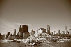 Chicago Skyline and Buckingham Fountain. Panoramic photo of Buckingham Fountain. In sepia.