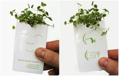 15 unbelievably creative business card designsIf you put this packet into water, grass will grow out of it.