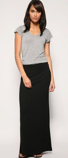 Black maxi skirt with a simple grey t shirt  love this so comfy!