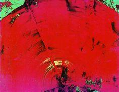 """作家名: 白髪一雄(具体美術協会)  作品名: 赤い扇(1965) 6'11"""" x 8'11"""""""