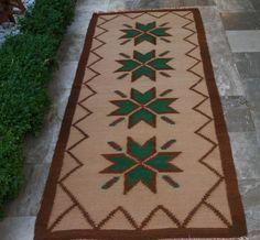 Your Christmas Rug!!! Vintage Mid Century Kilim Rug Wool Handwoven by VintageHomeStories,