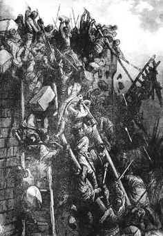 Esta imagen muestra el asedio de los Cruzados en la ciudad de Antioquia durante la Primera Cruzada.