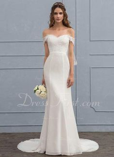 51cbbe89ef37 Trumpet Mermaid Off-the-Shoulder Court Train Chiffon Lace Wedding Dress  With Beading