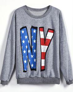 Grey Long Sleeve Stars Striped NY Print Sweatshirt US$22.62