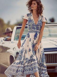V Neck Short Sleeve Floral Printed Dresses. OASAP Dresses floral prints