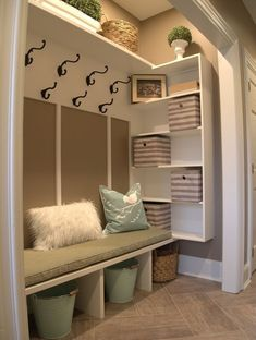 Just a few weeks ago I helped a client turn an unorganized unused hall closet into a family friendly mud room. Thought I would share& The post Just a few weeks ago I helped a client turn an unorganized unused hall closet in& appeared first on Dekoration. Front Closet, Hallway Closet, Closet To Mudroom, Closet Storage, Closet Doors, Closet Bench, Corner Closet, Closet Shelving, Entry Hallway