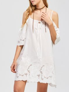 Floral Embroidery Dew Shoulder Scalloped Edge Dress in White | Sammydress.com