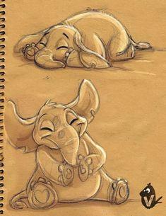 Cartoon Drawings, Cartoon Art, Cute Drawings, Cartoon Elephant Drawing, Brain Illustration, Elephant Illustration, Animal Sketches, Animal Drawings, Pencil Drawings