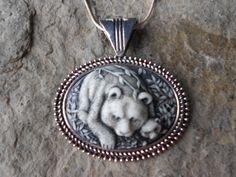 Bear with her Cub Hand Painted Cameo Pendant Necklace -  .925 plated - Bear Cub - pinned by pin4etsy.com