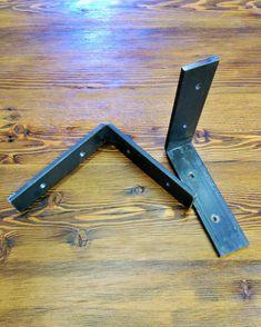 Steel Shelf Bracket Set  Two handmade raw steel metal