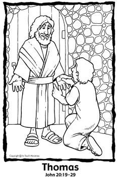 Luke 24:36-49; John 20:19-29; Acts1:3; Jesus Appeared to the Disciples; Coloring Page