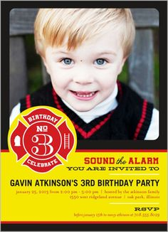 Sound The Alarm Personalized Birthday Party Invitation. Order yours at Boardman Printing 3rd Birthday Parties, 4th Birthday, Birthday Ideas, Kids Party Themes, Party Ideas, Fireman Birthday, Boy Birthday Invitations, Party Fashion, Party Time
