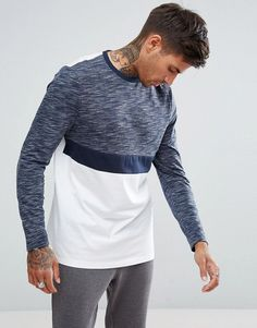 ASOS Longline Long Sleeve T-Shirt In Color Block With Interest Fabric at  asos.com 41738bcaea
