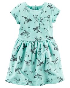 Crafted in cozy french terry featuring an allover print with a sweet babydoll waist, she'll twirl into her first day of school.