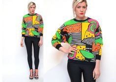 Vintage 90s GEOMETRIC sweater // NEON abstract by gingerandjudy