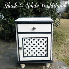 With A Blast: Black & White Nightstand - DIY    ...THIS looks like the size/shape of my nightstand... I kinda wanna do this to it! :)