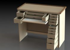 This is a watchmakers work bench. And the plans to build it. Technical drawings provided.
