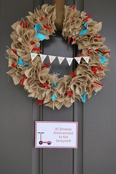 Wreaths Idea - you can amend the theme to this entrance wreath for any occasion