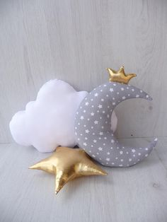 Set of 2 pillow,moon pillow,cloud pillow,soft star,nursery decor,gift for baby