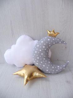 Set of 3 piecemoon pillowcloud pillowsoft starnursery Moon Pillow, Cloud Pillow, Designer Pillow, Pillow Design, Baby Room Decor, Nursery Decor, Baby Pillow Set, Pillow Talk, Throw Pillow