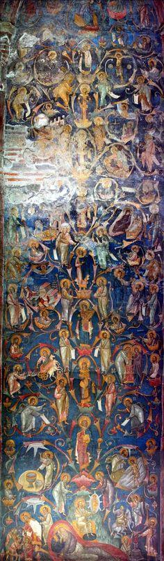 The Three of Jesse (blood line of Jesus Christ). Kosovo and Metohija Byzantine Art, Byzantine Icons, Tree Of Jesse, Russian Icons, Orthodox Icons, Sacred Art, Mural Art, 14th Century, Illuminated Manuscript