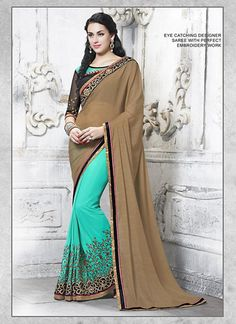 Chocolate & Light Turquoise Chiffon & Net Saree ,Indian Dresses