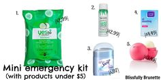 Shop items from Ulta and Target for items under $5 & create a mini emergency kit: http://blissfullybrunette.com/?p=4911