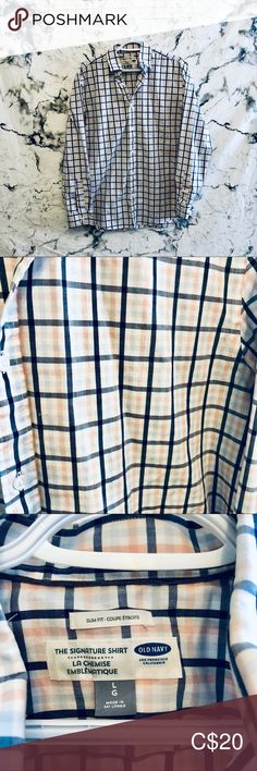 Old Navy The Signature Shirts Mens L EUC In perfect condition. No imperfections. Mens Size L slim fit cotton, spandex All items are shipped same or next day. 5 star seller Old Navy Shirts Casual Button Down Shirts Casual Shirts For Men, Casual Button Down Shirts, Navy Shirt Dress, Navy Shirts, Old Navy Dresses, Navy And White, Colorful Shirts, Im Not Perfect, Man Shop