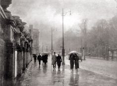 Rain, 1936. by Léonard Misonne What a beautiful composition in this old photo!