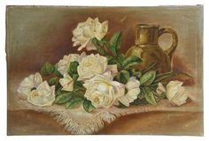 19th-C. Ivory Roses Oil Painting