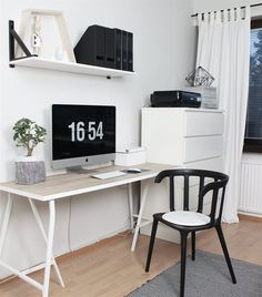 Add a touch of life to a monochrome work space with a cute pot plant | Spotted in Magdaleena's home in Finland
